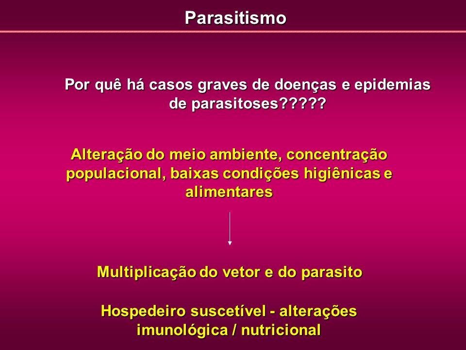 Parasitismo Por quê há casos graves de doenças e epidemias de parasitoses