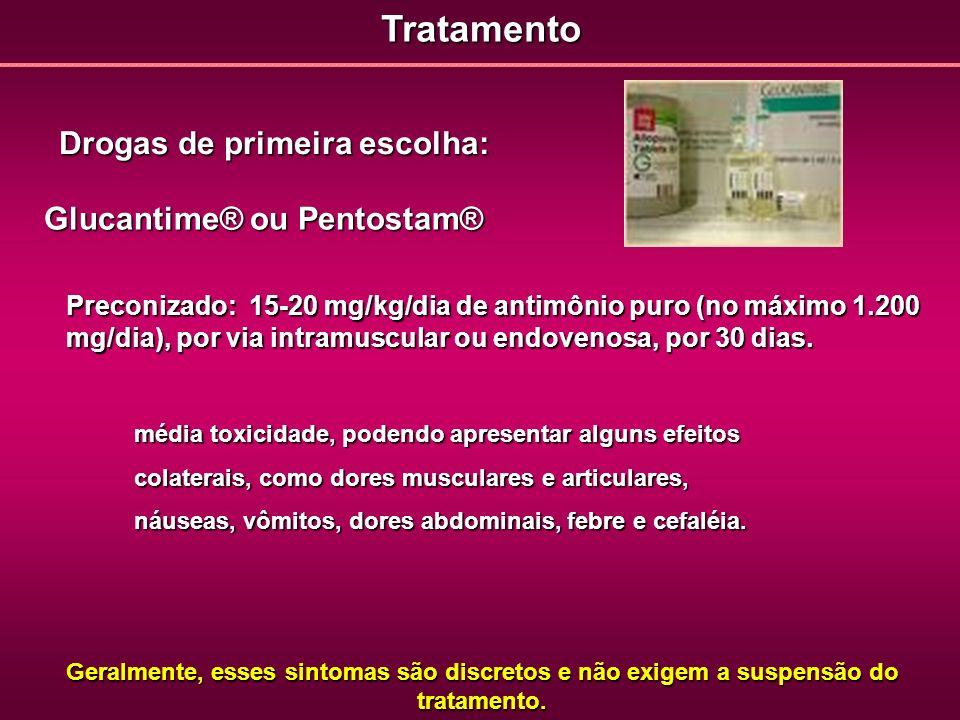 Tratamento Drogas de primeira escolha: Glucantime® ou Pentostam®