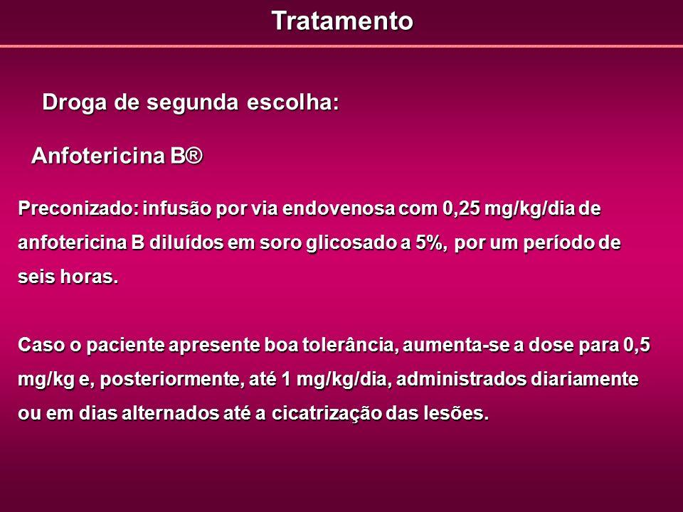 Tratamento Droga de segunda escolha: Anfotericina B®