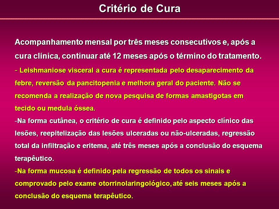 Critério de CuraAcompanhamento mensal por três meses consecutivos e, após a cura clínica, continuar até 12 meses após o término do tratamento.