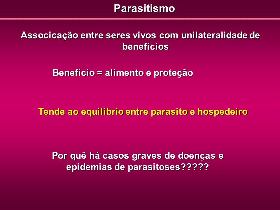 Parasitismo Associcação entre seres vivos com unilateralidade de benefícios. Benefício = alimento e proteção.