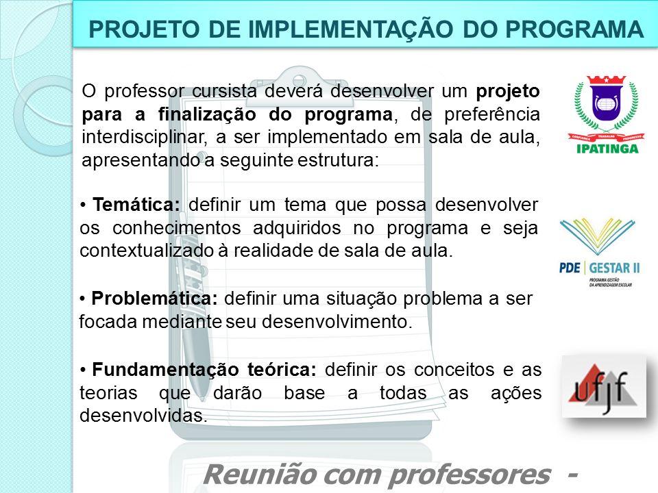 PROJETO DE IMPLEMENTAÇÃO DO PROGRAMA