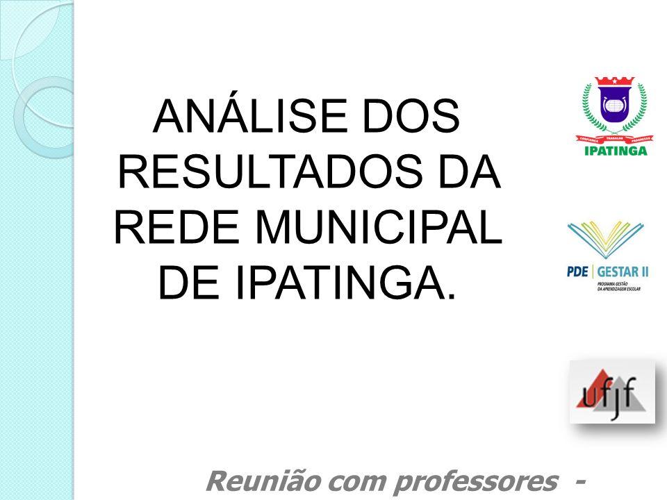 ANÁLISE DOS RESULTADOS DA REDE MUNICIPAL DE IPATINGA.