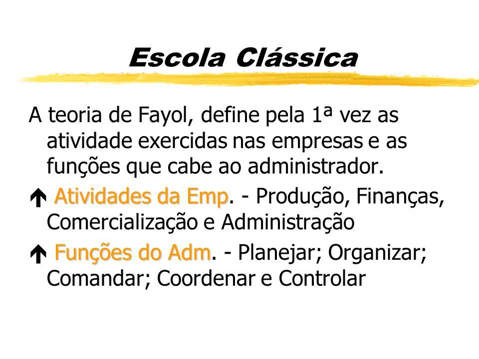 Escola Clássica A teoria de Fayol, define pela 1ª vez as atividade exercidas nas empresas e as funções que cabe ao administrador.