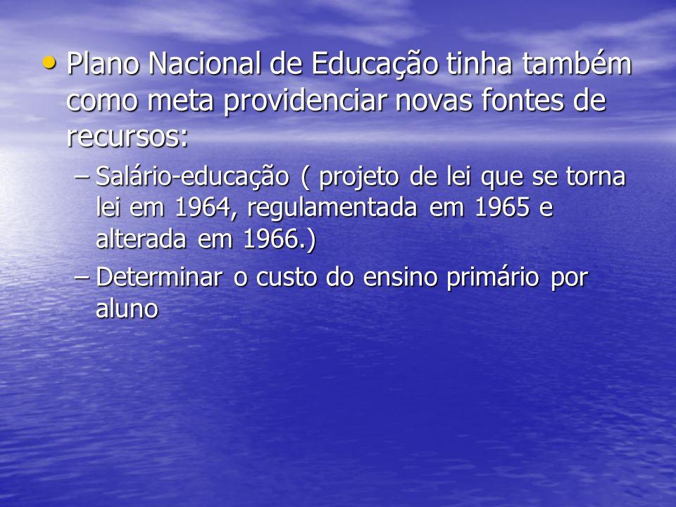 Plano Nacional de Educação tinha também como meta providenciar novas fontes de recursos: