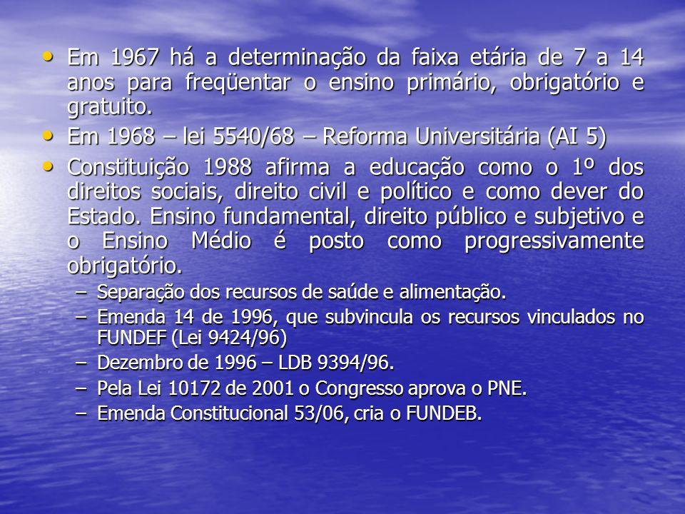 Em 1968 – lei 5540/68 – Reforma Universitária (AI 5)