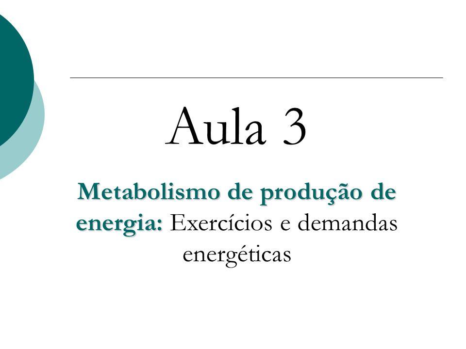Metabolismo de produção de energia: Exercícios e demandas energéticas