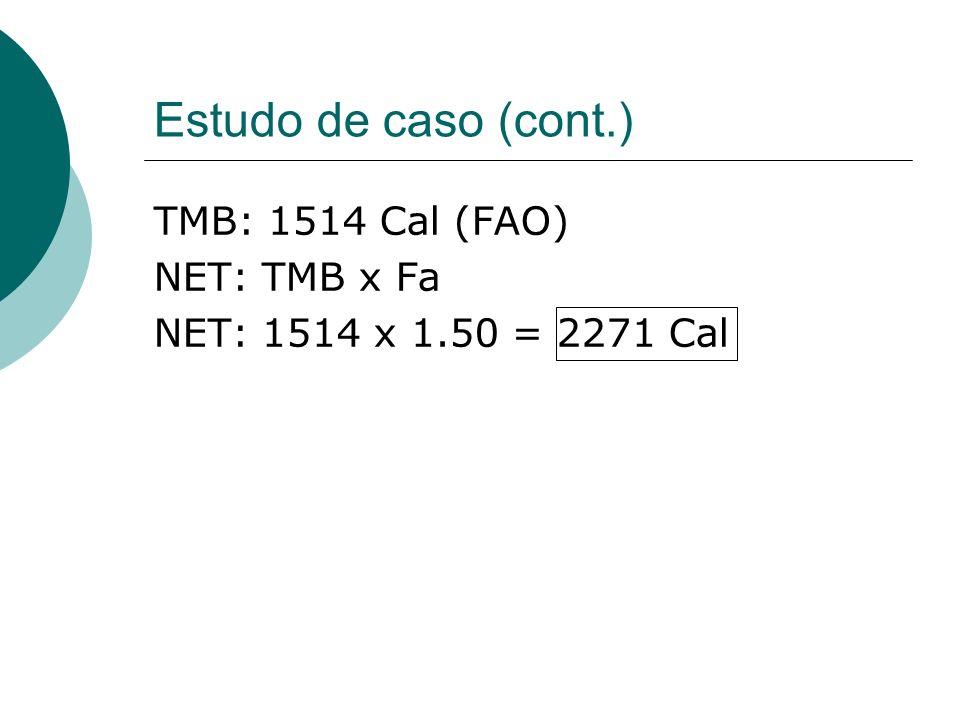 Estudo de caso (cont.) TMB: 1514 Cal (FAO) NET: TMB x Fa