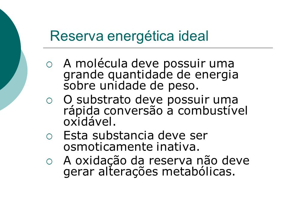 Reserva energética ideal