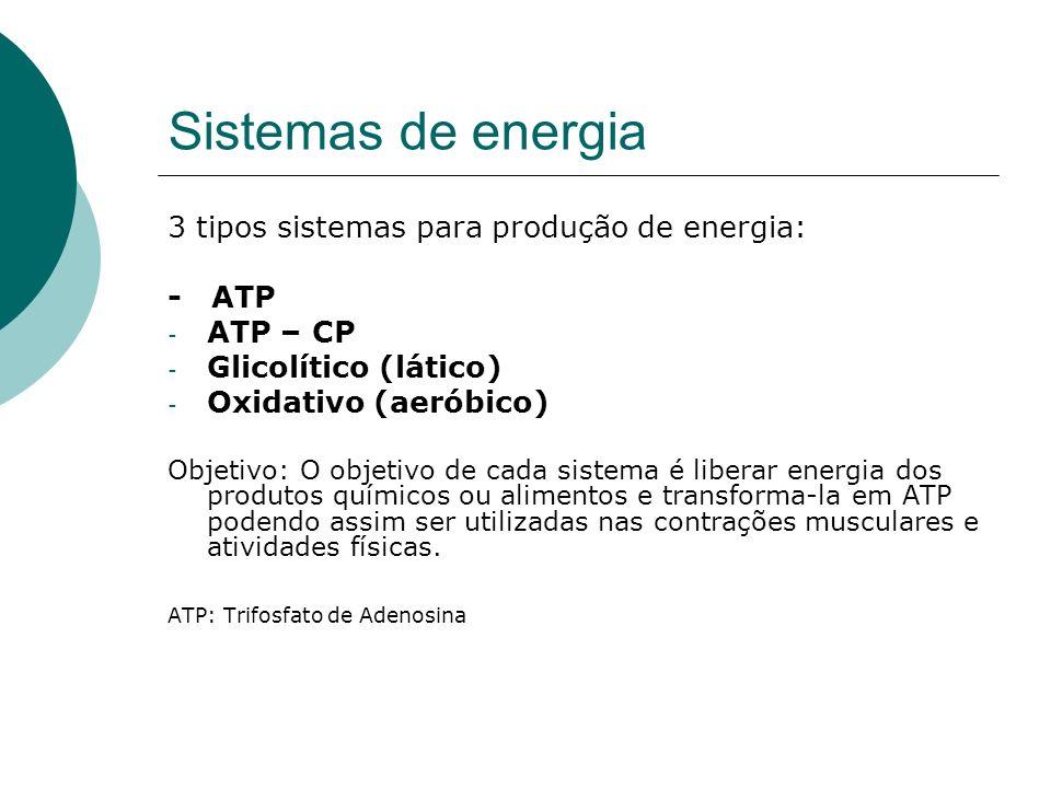 Sistemas de energia 3 tipos sistemas para produção de energia: - ATP