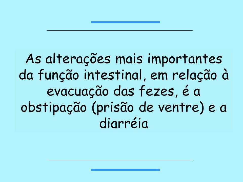 As alterações mais importantes da função intestinal, em relação à evacuação das fezes, é a obstipação (prisão de ventre) e a diarréia