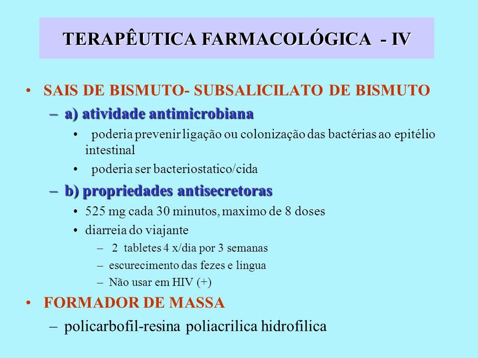 TERAPÊUTICA FARMACOLÓGICA - IV