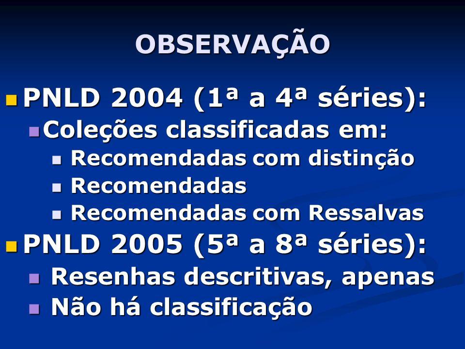 OBSERVAÇÃO PNLD 2004 (1ª a 4ª séries): PNLD 2005 (5ª a 8ª séries):