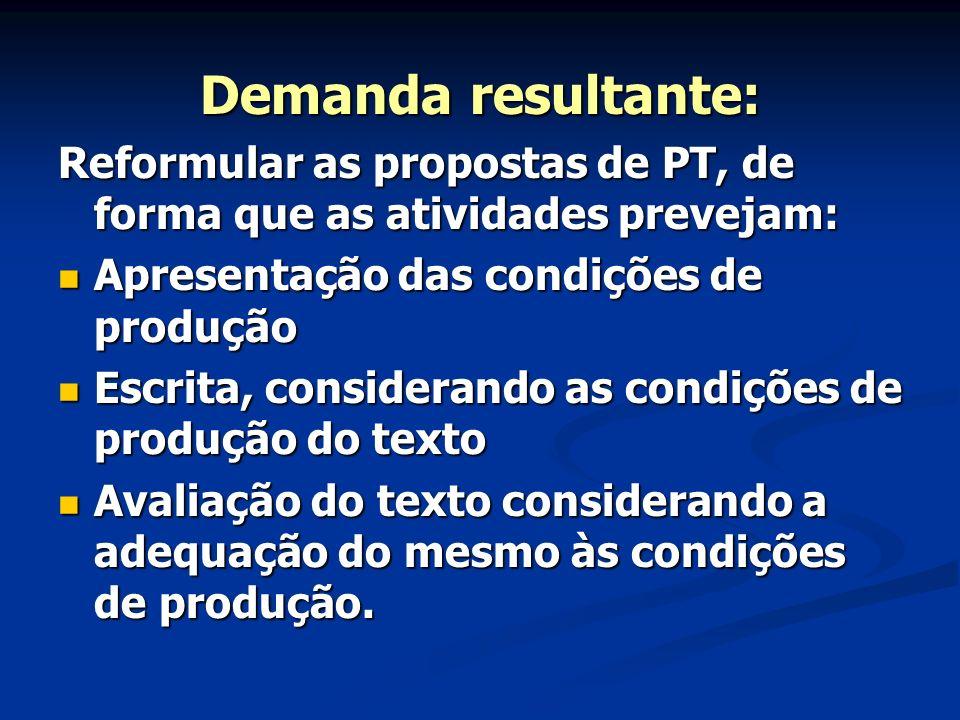 Demanda resultante: Reformular as propostas de PT, de forma que as atividades prevejam: Apresentação das condições de produção.