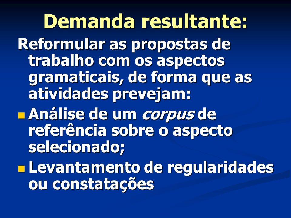 Demanda resultante: Reformular as propostas de trabalho com os aspectos gramaticais, de forma que as atividades prevejam: