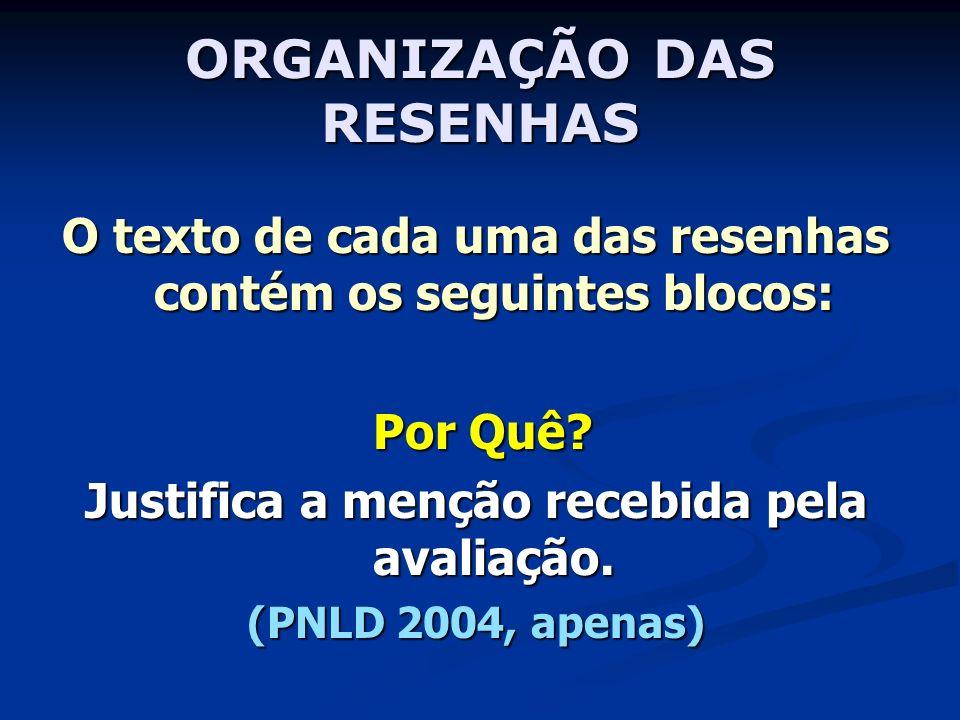 ORGANIZAÇÃO DAS RESENHAS