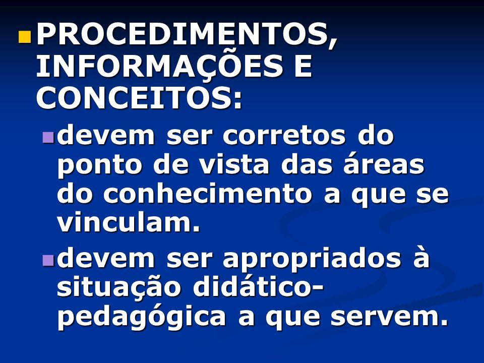 PROCEDIMENTOS, INFORMAÇÕES E CONCEITOS: