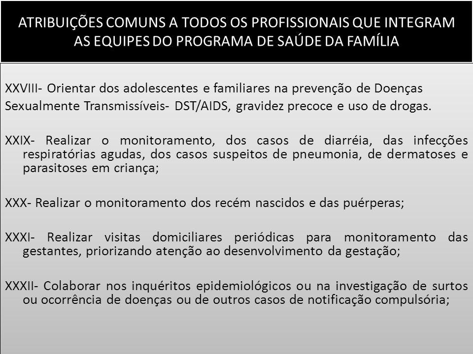 ATRIBUIÇÕES COMUNS A TODOS OS PROFISSIONAIS QUE INTEGRAM AS EQUIPES DO PROGRAMA DE SAÚDE DA FAMÍLIA