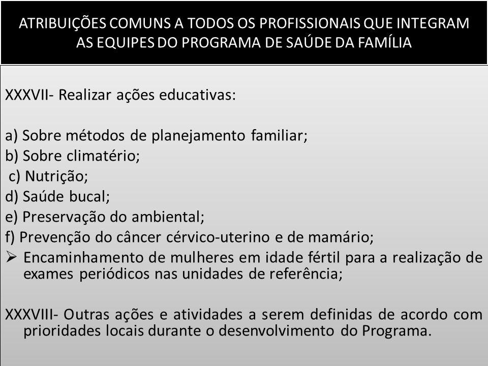 XXXVII- Realizar ações educativas: