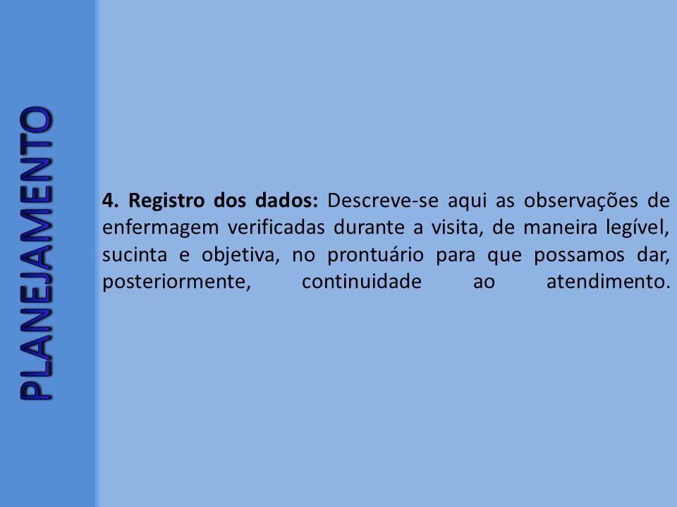 4. Registro dos dados: Descreve-se aqui as observações de enfermagem verificadas durante a visita, de maneira legível, sucinta e objetiva, no prontuário para que possamos dar, posteriormente, continuidade ao atendimento.