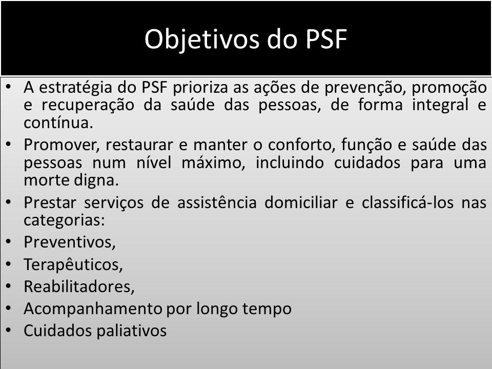 Objetivos do PSF A estratégia do PSF prioriza as ações de prevenção, promoção e recuperação da saúde das pessoas, de forma integral e contínua.