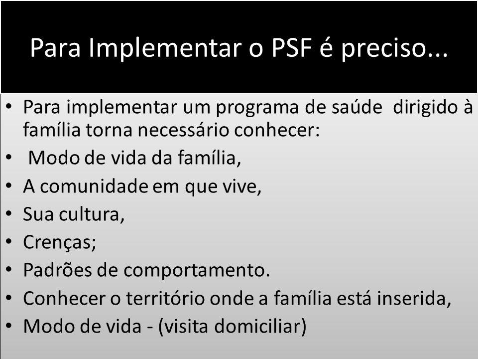 Para Implementar o PSF é preciso...