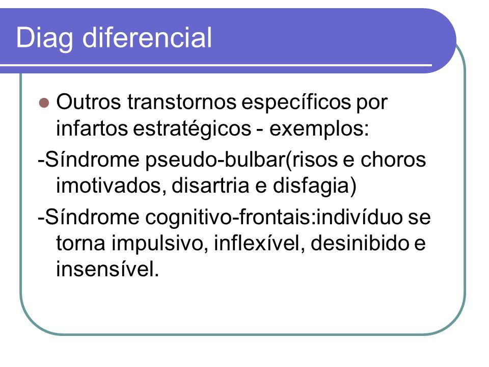 Diag diferencial Outros transtornos específicos por infartos estratégicos - exemplos: