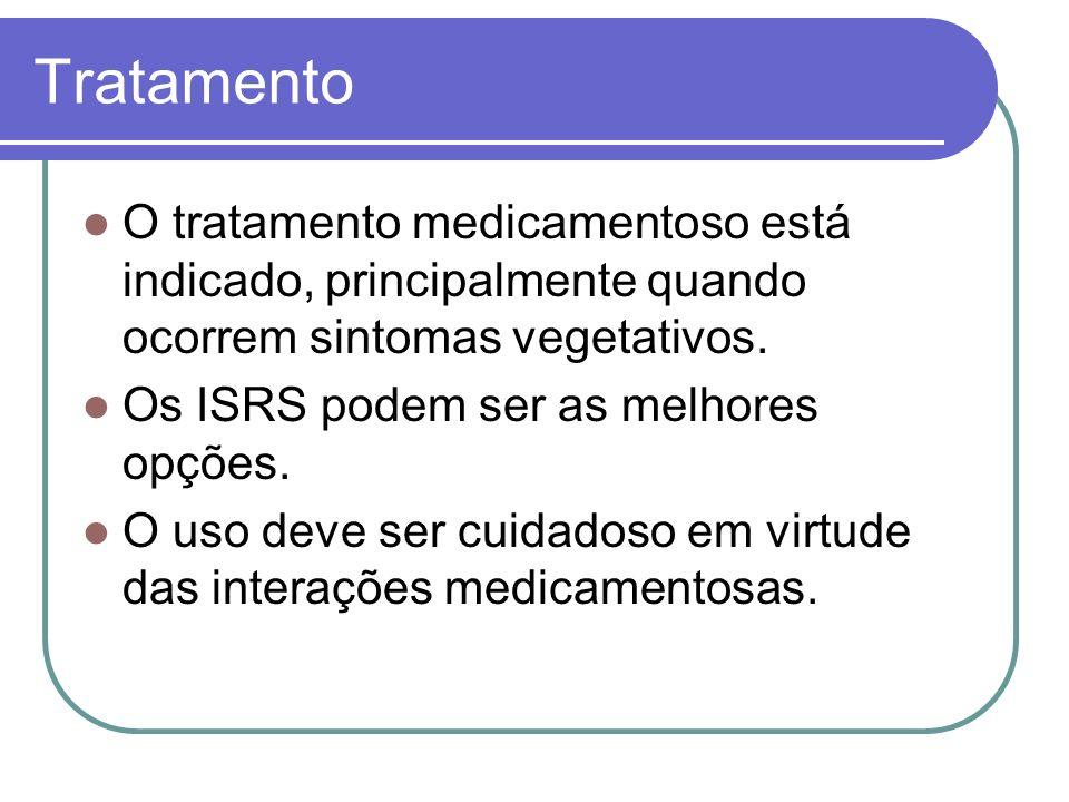 Tratamento O tratamento medicamentoso está indicado, principalmente quando ocorrem sintomas vegetativos.