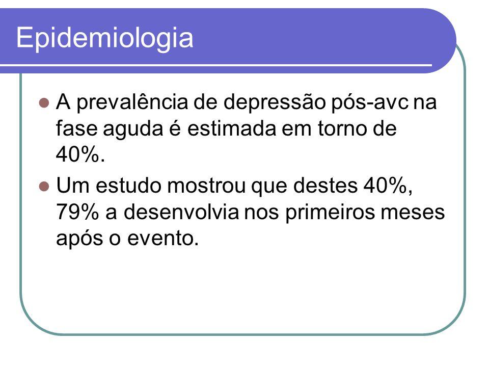 Epidemiologia A prevalência de depressão pós-avc na fase aguda é estimada em torno de 40%.