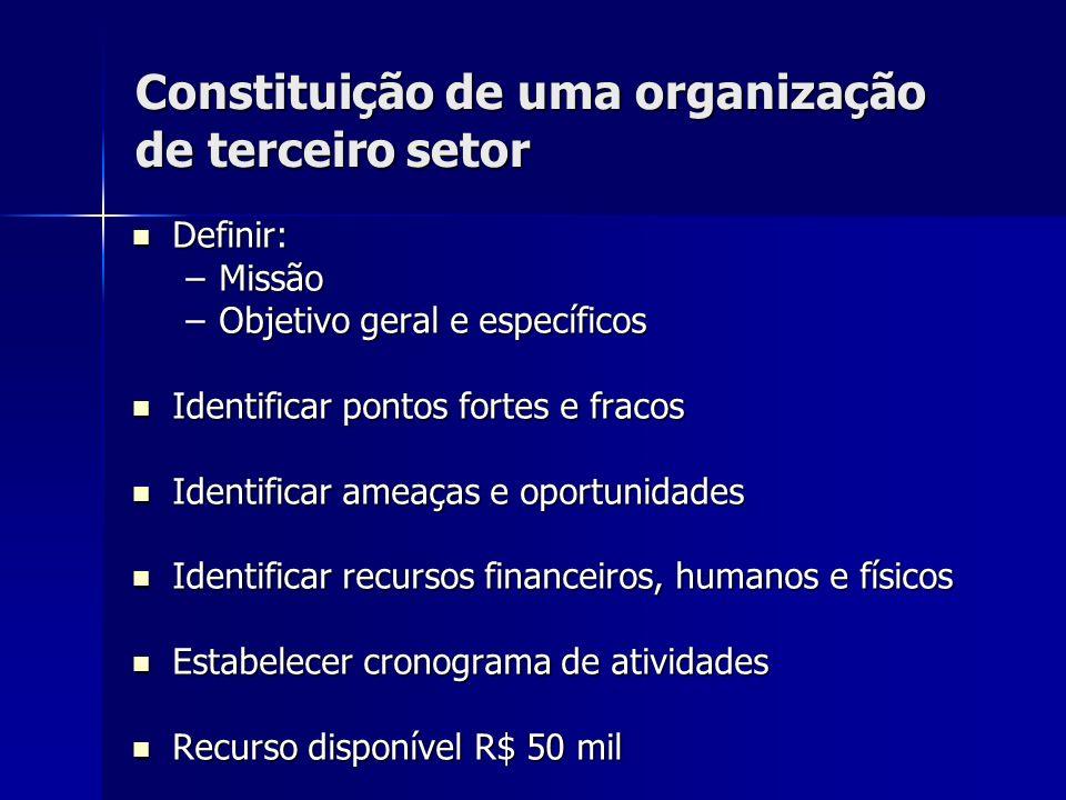 Constituição de uma organização de terceiro setor