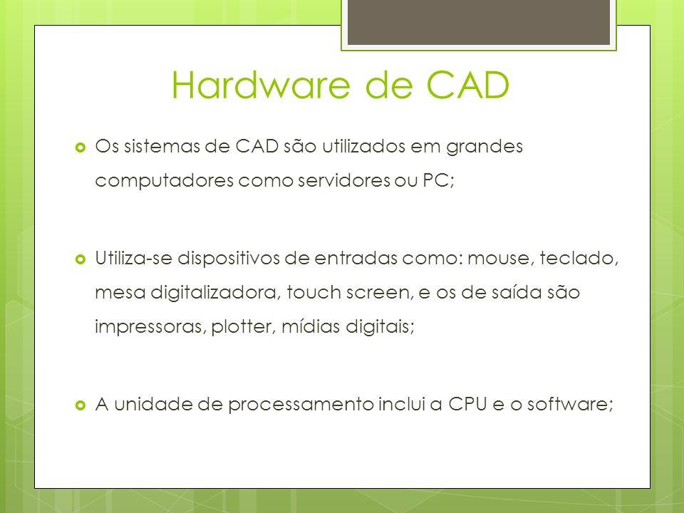 Hardware de CAD Os sistemas de CAD são utilizados em grandes computadores como servidores ou PC;