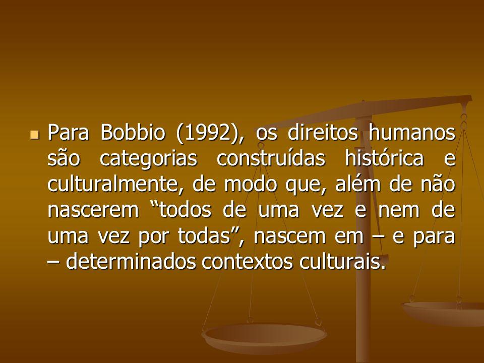 Para Bobbio (1992), os direitos humanos são categorias construídas histórica e culturalmente, de modo que, além de não nascerem todos de uma vez e nem de uma vez por todas , nascem em – e para – determinados contextos culturais.