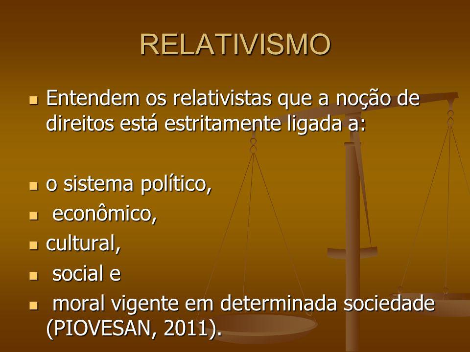 RELATIVISMO Entendem os relativistas que a noção de direitos está estritamente ligada a: o sistema político,