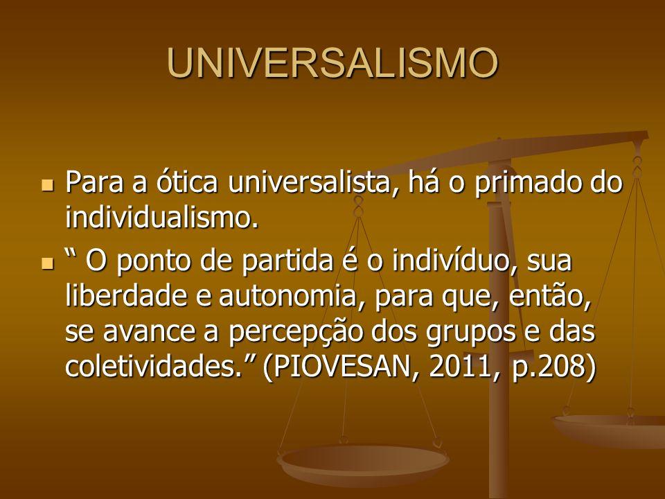 UNIVERSALISMO Para a ótica universalista, há o primado do individualismo.
