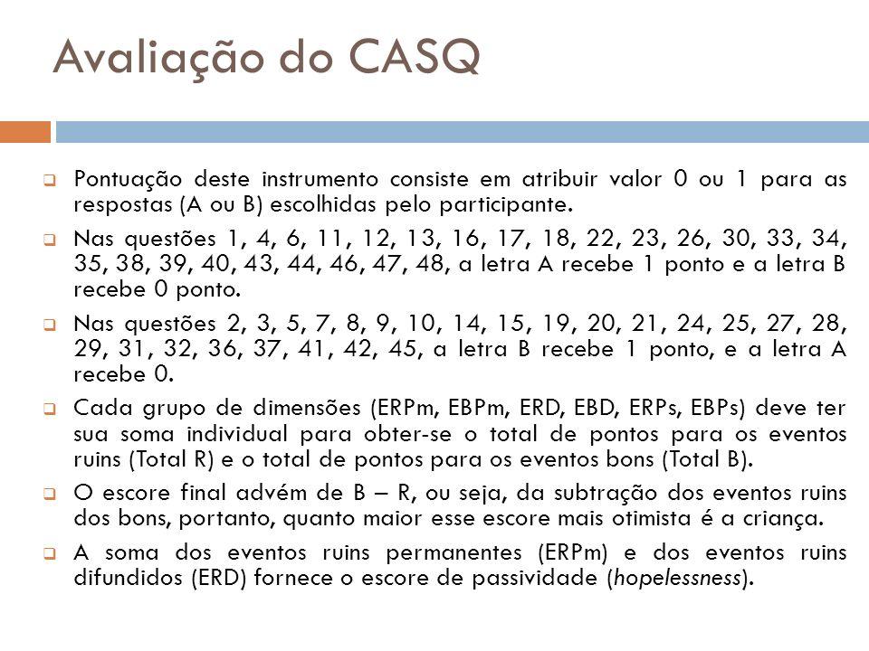 Avaliação do CASQ Pontuação deste instrumento consiste em atribuir valor 0 ou 1 para as respostas (A ou B) escolhidas pelo participante.