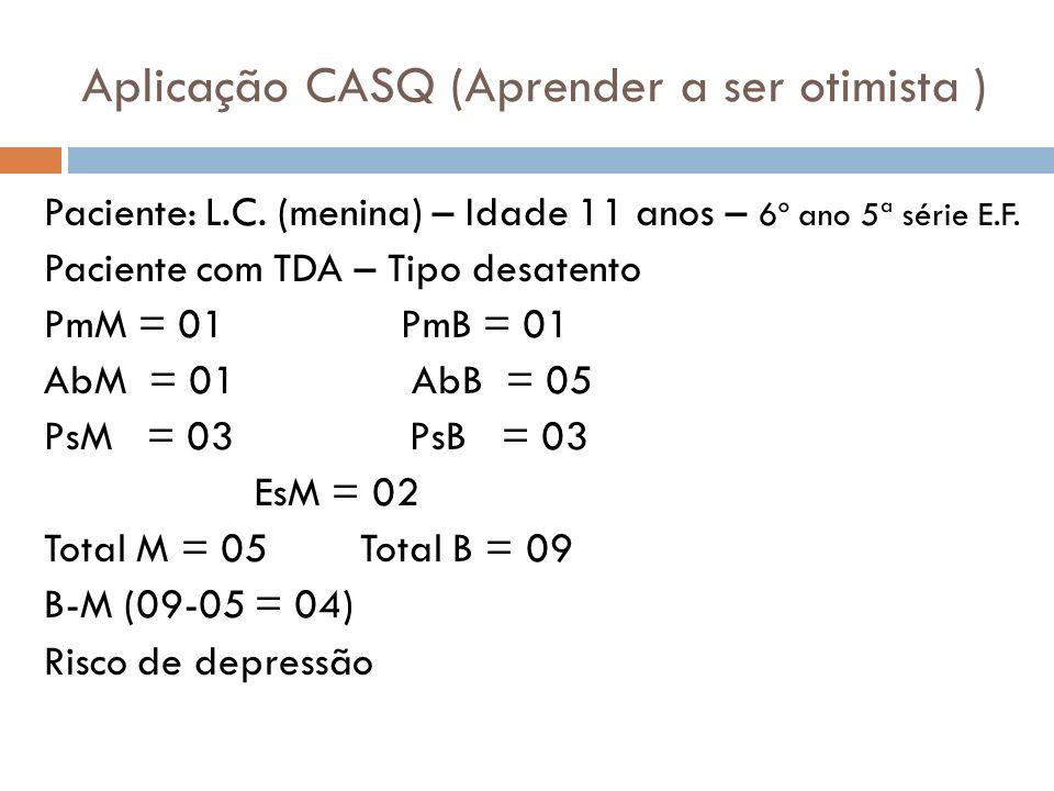 Aplicação CASQ (Aprender a ser otimista )