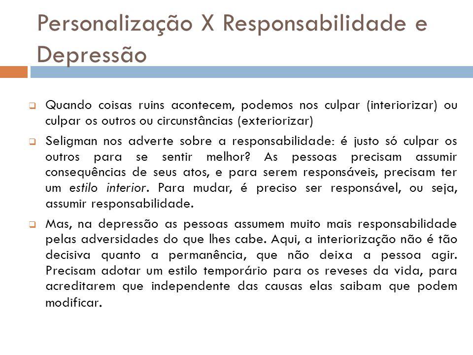 Personalização X Responsabilidade e Depressão