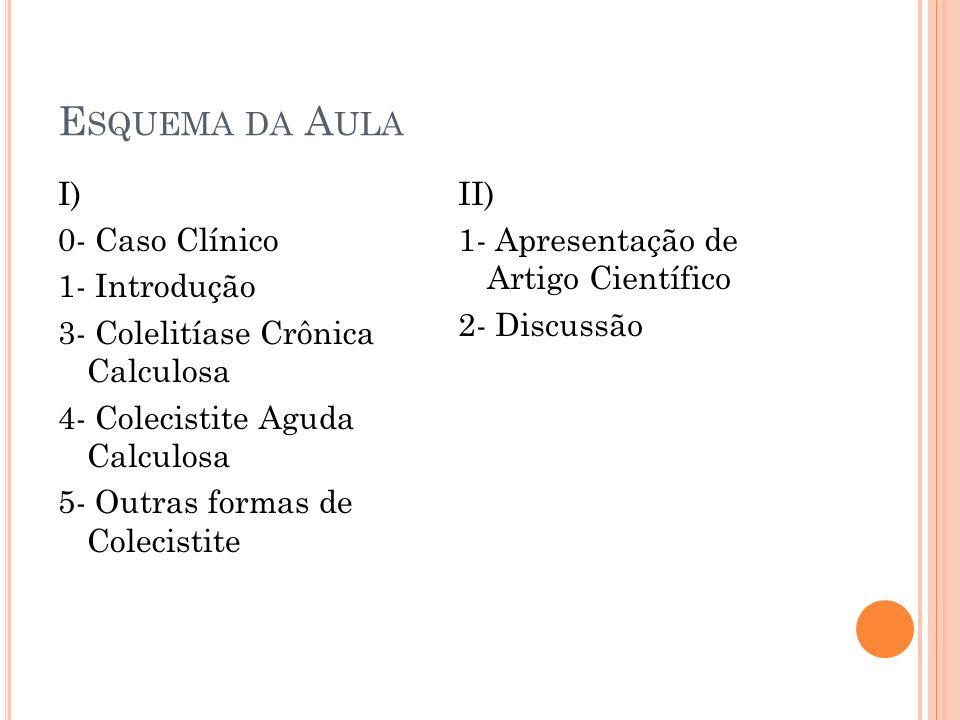 Esquema da Aula I) 0- Caso Clínico 1- Introdução 3- Colelitíase Crônica Calculosa 4- Colecistite Aguda Calculosa 5- Outras formas de Colecistite
