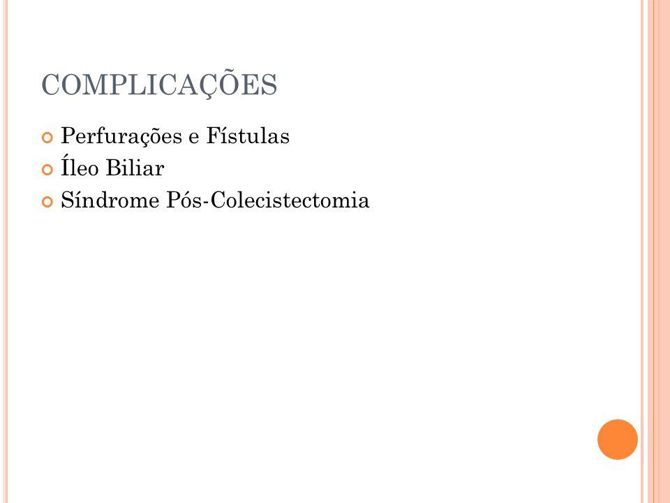 COMPLICAÇÕES Perfurações e Fístulas Íleo Biliar