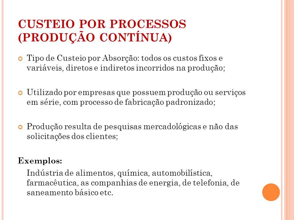 CUSTEIO POR PROCESSOS (PRODUÇÃO CONTÍNUA)