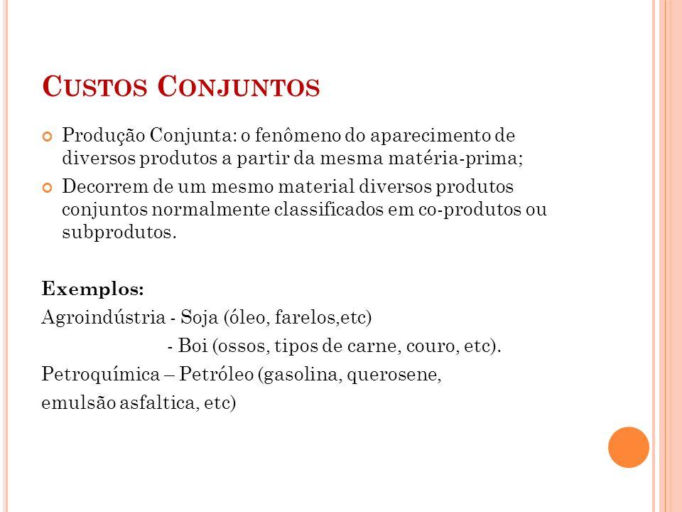 Custos Conjuntos Produção Conjunta: o fenômeno do aparecimento de diversos produtos a partir da mesma matéria-prima;