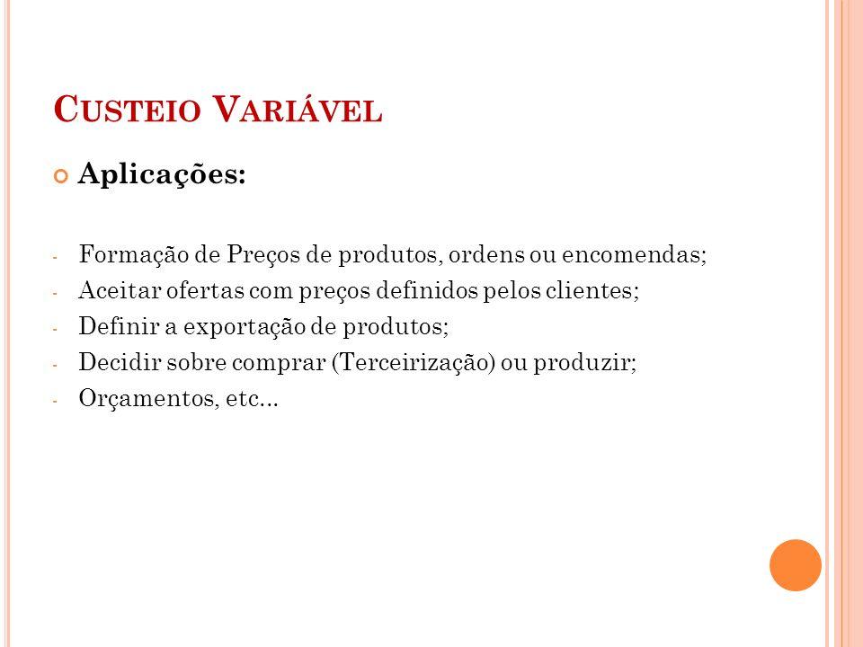 Custeio Variável Aplicações: