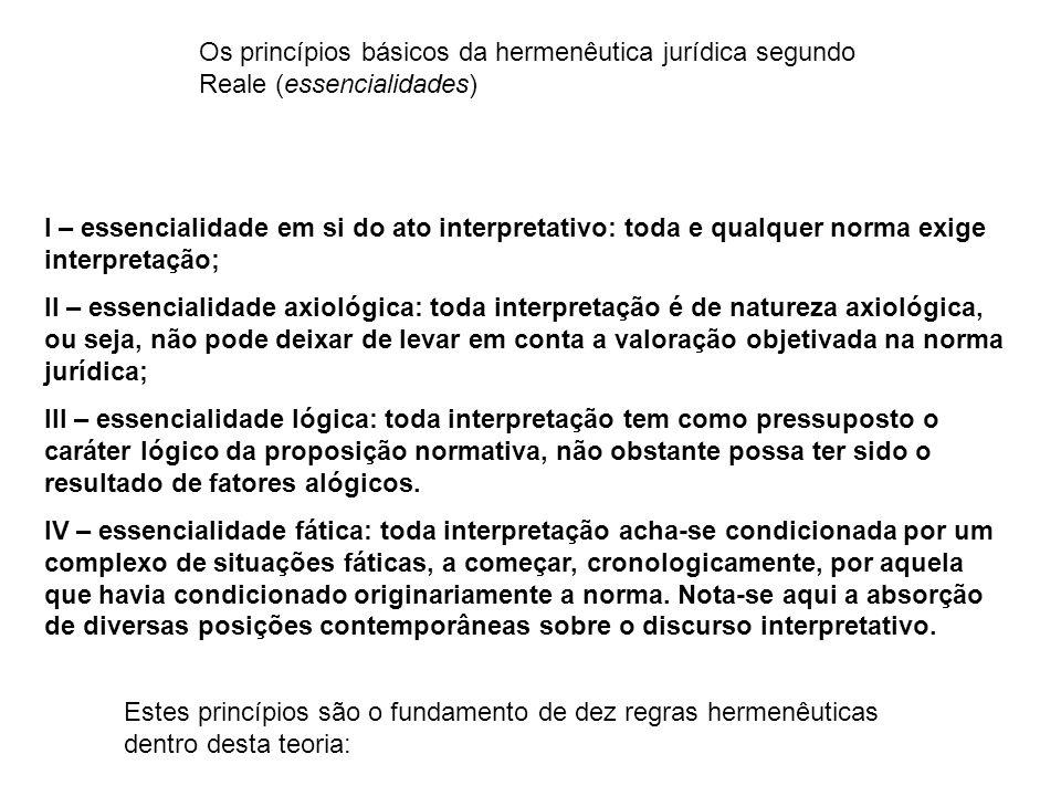 Os princípios básicos da hermenêutica jurídica segundo Reale (essencialidades)