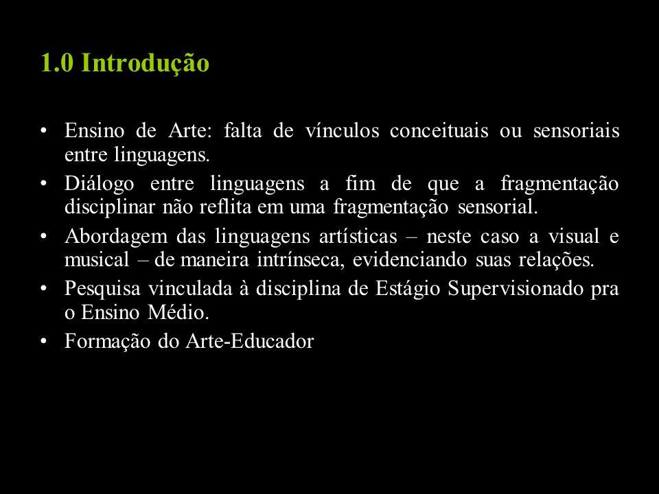 1.0 Introdução Ensino de Arte: falta de vínculos conceituais ou sensoriais entre linguagens.