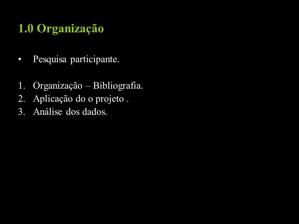 1.0 Organização Pesquisa participante. Organização – Bibliografia.