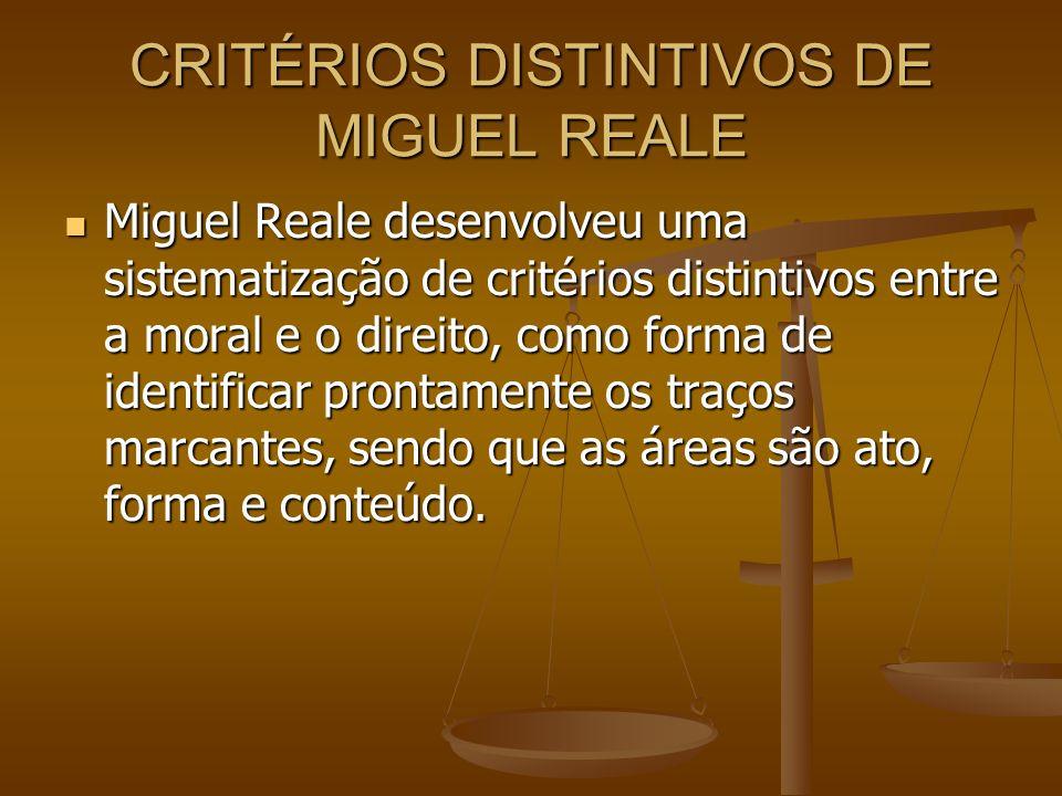 CRITÉRIOS DISTINTIVOS DE MIGUEL REALE