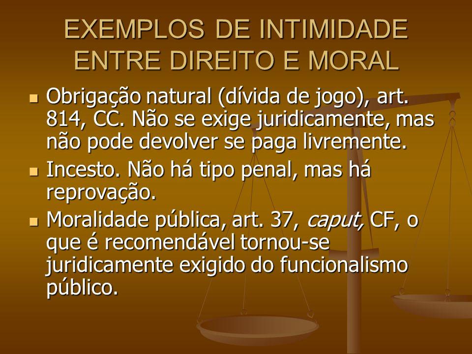 EXEMPLOS DE INTIMIDADE ENTRE DIREITO E MORAL