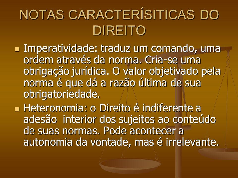 NOTAS CARACTERÍSITICAS DO DIREITO