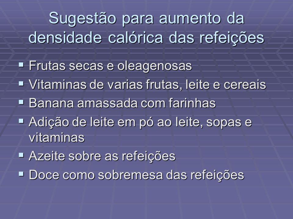 Sugestão para aumento da densidade calórica das refeições
