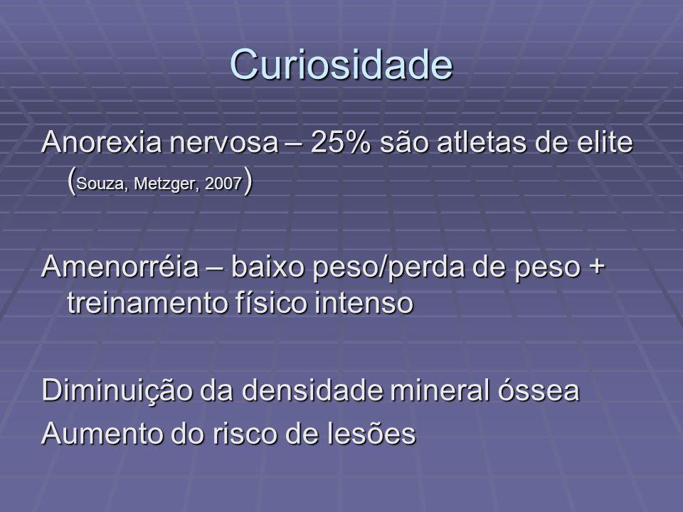 Curiosidade Anorexia nervosa – 25% são atletas de elite (Souza, Metzger, 2007) Amenorréia – baixo peso/perda de peso + treinamento físico intenso.
